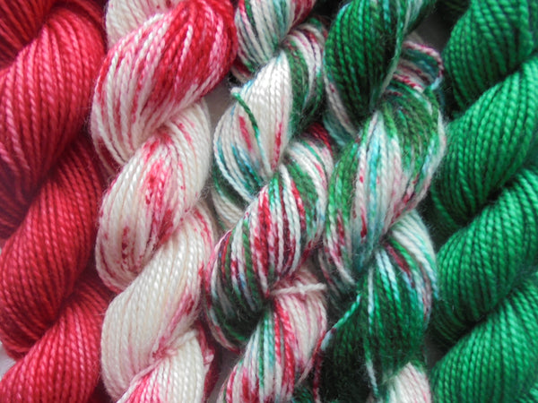 WHY, CHRISTMAS DAY - Mini-Skein Set of Five - Hand-Dyed 20 gram Sock-Weight Mini Skeins Made of 80% Superwash Merino and 20% Nylon