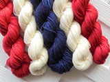 GRAND OLD FLAG Mini-Skein Set of Five - Hand-Dyed 20 gram Sock-Weight Mini Skeins Made of 100% Superwash Merino