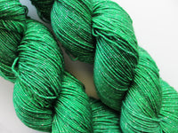 FOREST GREEN on Sparkly Merino Sock-Weight Yarn