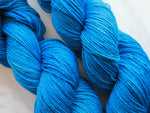 BRILLIANT BLUE Handdyed Yarn on Sock Perfection
