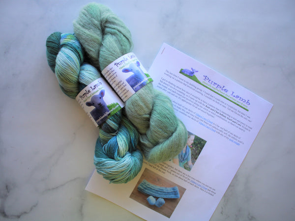 KNIT AND CHAT INFINITY SCARF KIT - Monet's Water Lilies on Dream Sock and Mint Green on Alpaca Lace Cloud