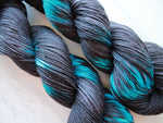 ONYX AND SAPPHIRES Hand-Dyed Ikat Yarn on Sock Perfection