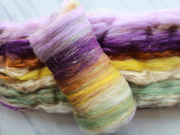 PURPLE IRIS Art Batts to Spin or Felt