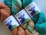 THREE-SKEIN FADE SET on Sock Perfection - Copper, Copper Roof, and Turquoise