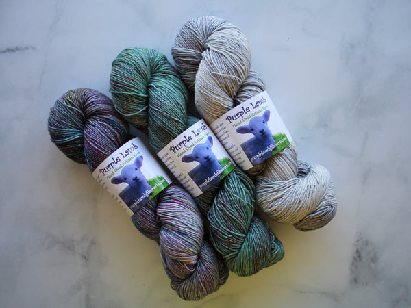 THREE-SKEIN FADE SET on Sparkly Merino Sock - Monet's Cathedral, Desert Willow, and Mithril