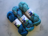 THREE-SKEIN FADE SET on Sparkly Merino Sock - Brilliant Blue, Rhapsody in Blue, and Renaissance Blue