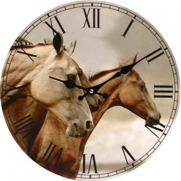 Windswept Horses - Clock