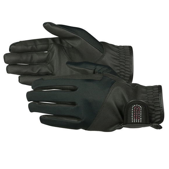 Bling Leather Gloves - Black - Wanneroo Stockfeeders