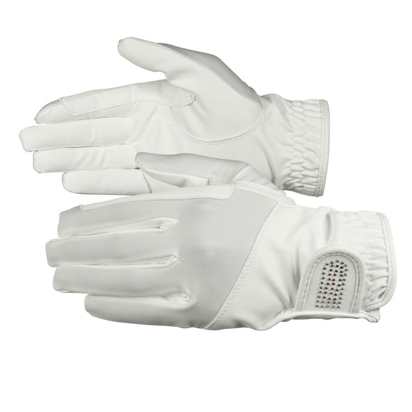 Bling Leather Gloves - White - Wanneroo Stockfeeders