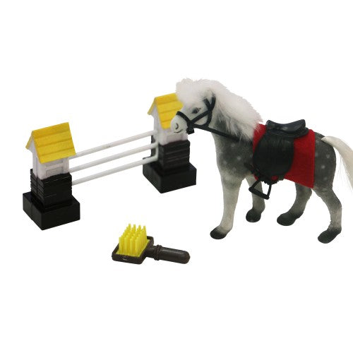 Horse Ranch - Toy Horse w/Brush & Jump - Wanneroo Stockfeeders