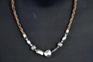 Silver Necklace - Silver Beads/Brown Hair - Wanneroo Stockfeeders