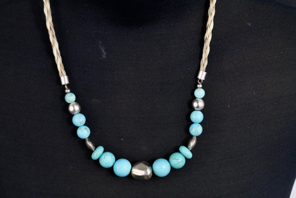 Silver Necklace - Turquoise Beads/White Hair - Wanneroo Stockfeeders