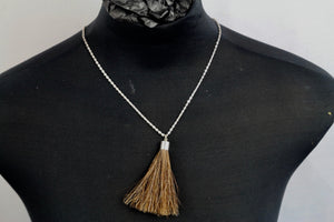 Necklace - Silver Chain/Brown Hair Tassel - Wanneroo Stockfeeders