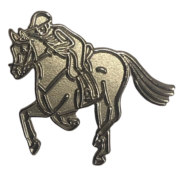 Silver Horse and Rider Pin - Wanneroo Stockfeeders