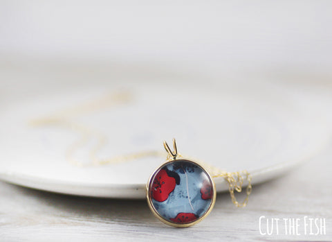 Red Blue Gold Filled Necklace