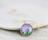 Purple Green Gold Filled Neckalce