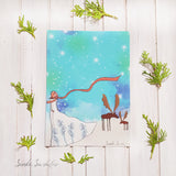 Girl with Deer Art Print