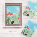 Girl with Tulips Netherlands Travel Print