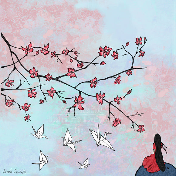 Origami Cranes and Cherry Blossom Print