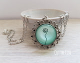 Mint Green Dandelion Vintage Necklace