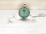 Mint Green big Necklace with Dandelion
