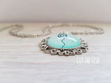 Mint Green Silver Necklace