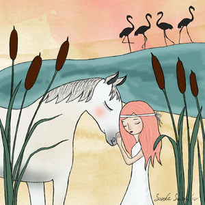 Girl with White Horse Print