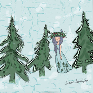 Girl in a Snow Winter Forest Print