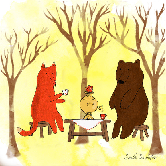 Bear and Fox Tea Party Print