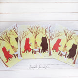 Bear with Fox Tea Party Card