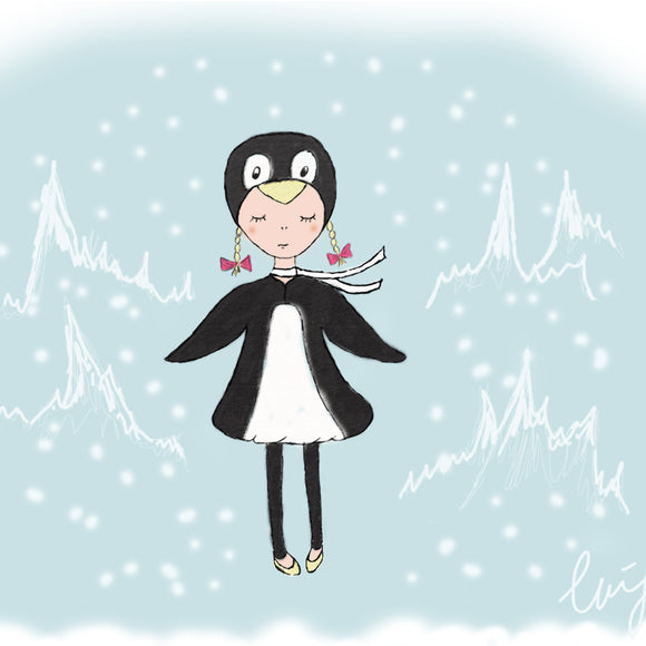 Penguin Girl Illustration