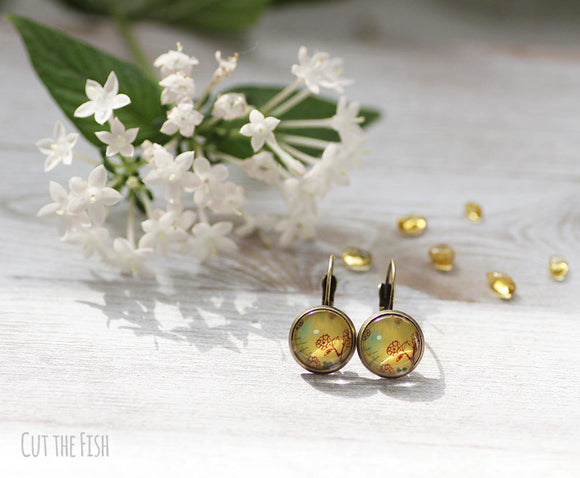 "Yellow Mustard Earrings with Red Flowers ""Sunny Field"""