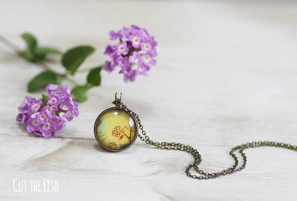 yellow necklace with flowers