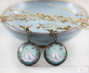 paper boat earrings