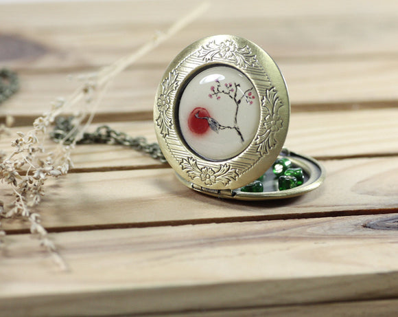 crane locket necklace
