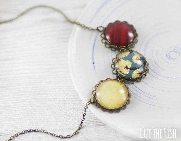 yellow blue red necklace