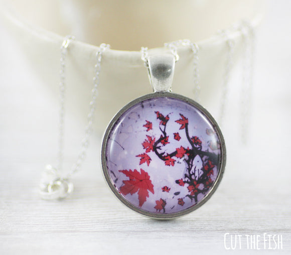 purple red necklace