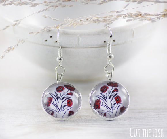 white red earrings