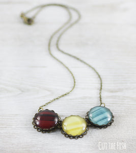 red yellow blue necklace