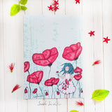Girl with Poppies Flower Art Print