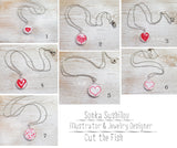 red hearts necklaces