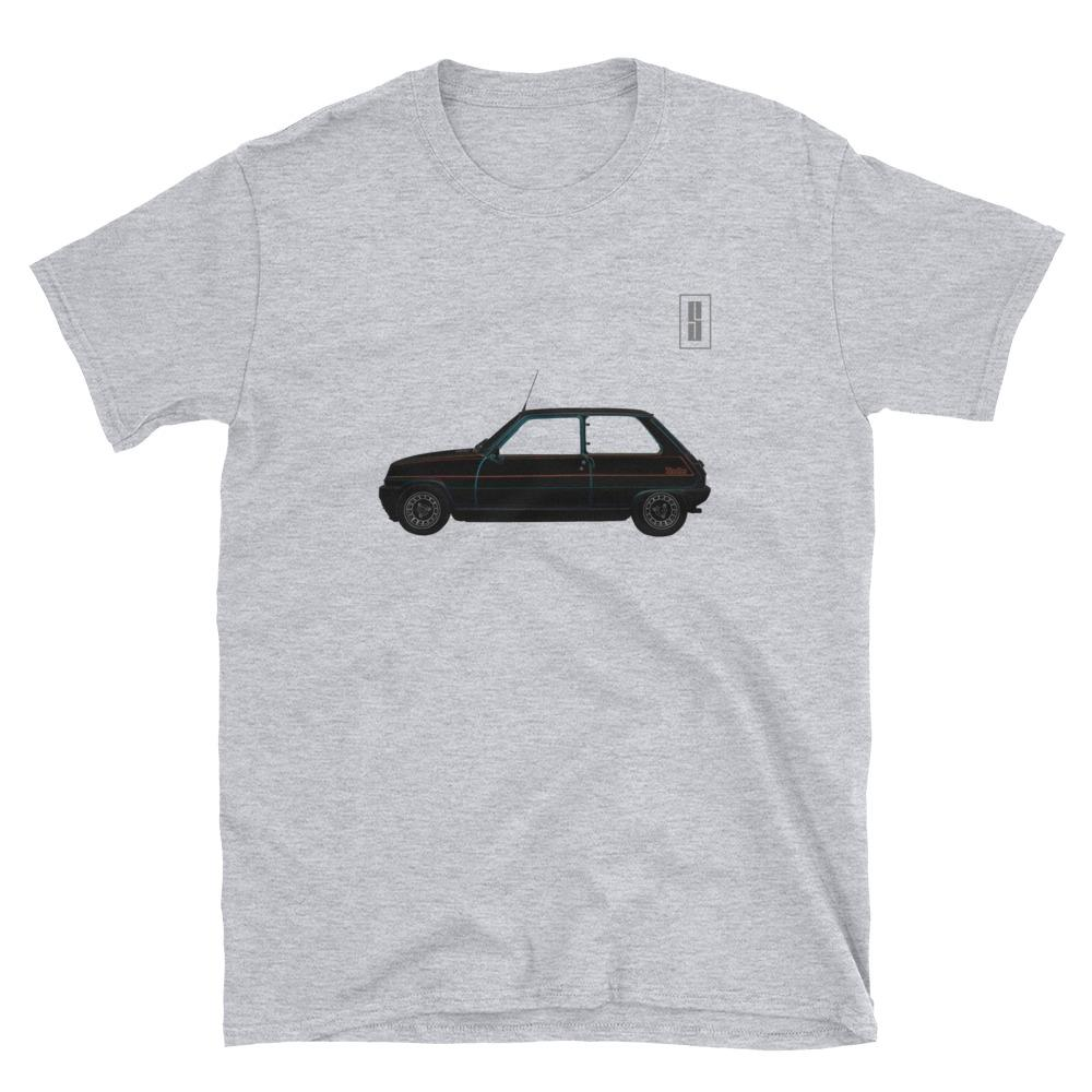 T Shirt Teeshirt Renault R5 Alpine Turbo Youngtimers Voiture automobile gris