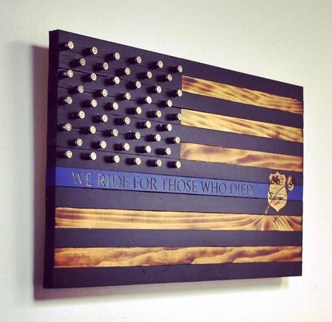 Thin Blue Line Flag with Shell Casing Stars