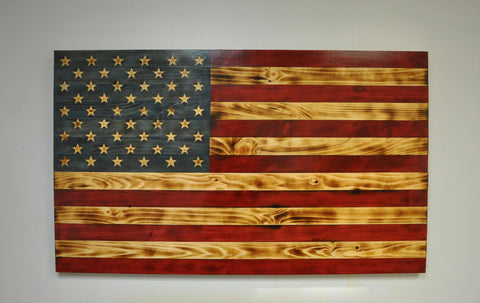 American Flag with Carved Stars