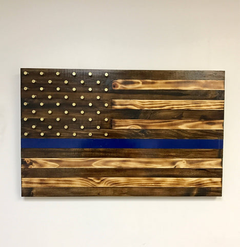 Antique Thin Blue Line Flag with Shell Casing Stars