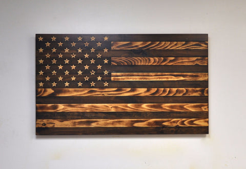 "Antique ""Grand Pappy"" American Flag with Carved Stars"