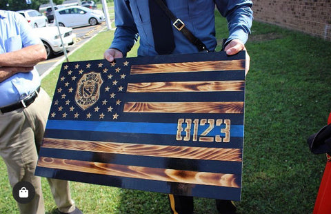 Thin Blue Line Flag with Police Patch & Carved Stars