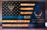 Ripped American/ Thin Blue Line Flag with Carved Stars