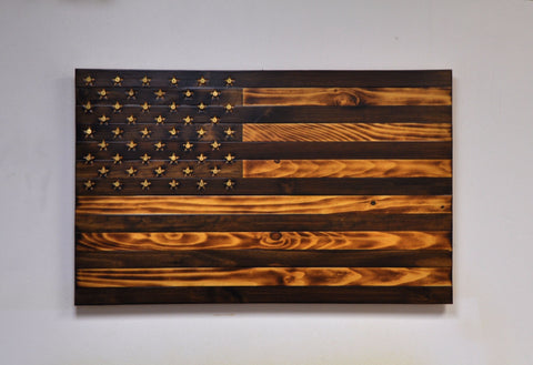"Antique ""Grand Pappy"" American Flag with Carved/ Shell Casing Stars"
