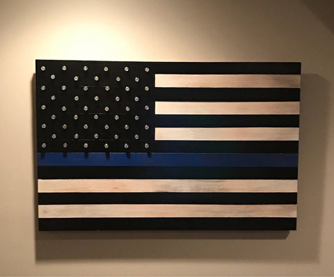 Thin Blue Line Flag with Shell Casing Stars (Black and White Edition)